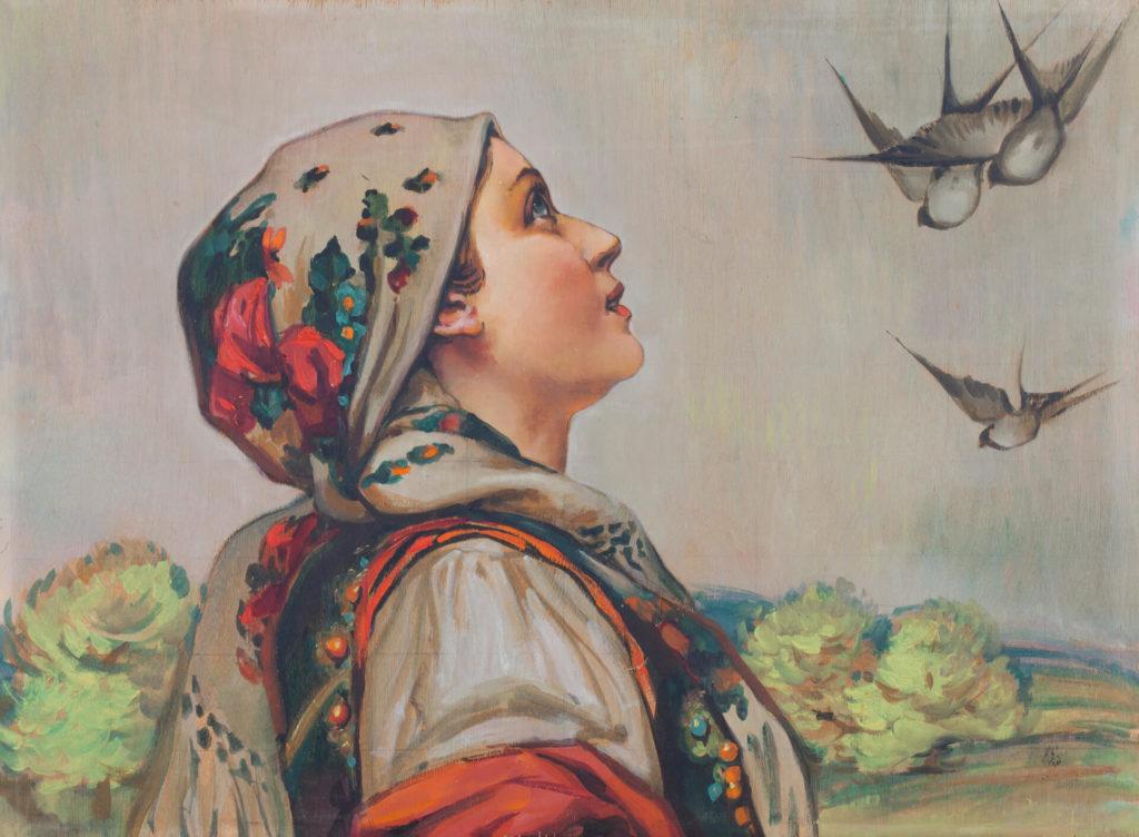 Mujer Hutsul con gaviota