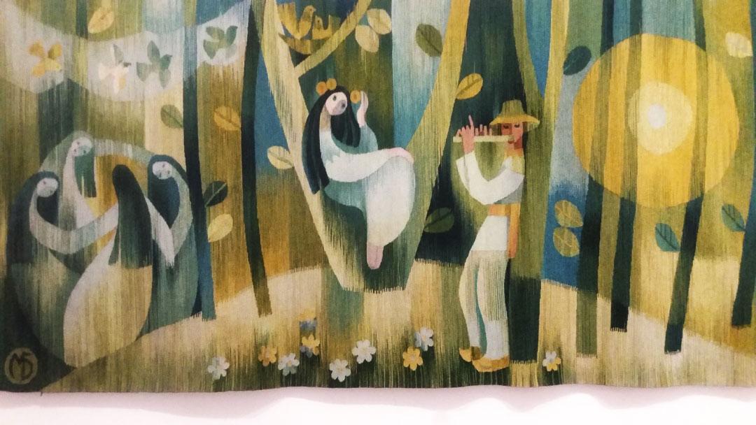 """""""Лісова пісня"""" гобелен, ручне ткацтво, вовна, 1984 р."""